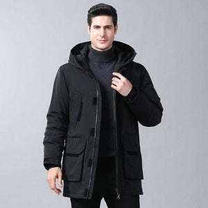 Woosir Down Jacket With Hood Long Coat Men - Black / M - Down Jacket - Woosir