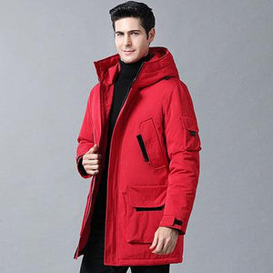 Woosir Down Jacket With Hood Long Coat Men - Red / M - Down Jacket - Woosir
