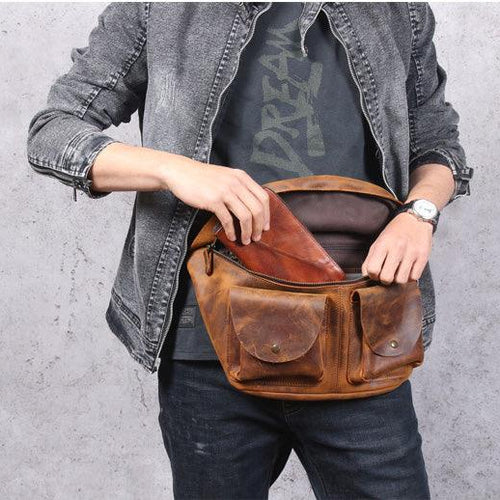 Leather Sling Bag Waist Pack Shoulder Backpack