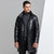 Woosir Genuine Leather Mens Down Jacket With Hood Black -  - Down Jacket - Woosir