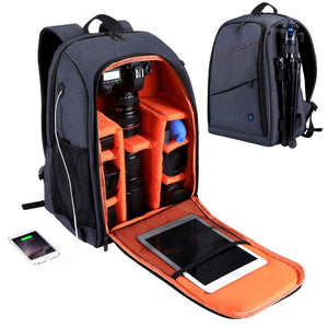 Camera Backpack for Travel with Charging Port - Grey - Camera Bags & Cases - Woosir