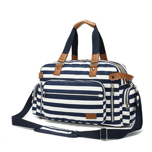 Canvas Travel Weekend Bag for Women with Trolley Sleeve - Blue - Duffle Bags - Woosir