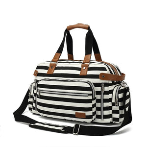 Canvas Travel Weekend Bag for Women with Trolley Sleeve - Black - Duffle Bags - Woosir