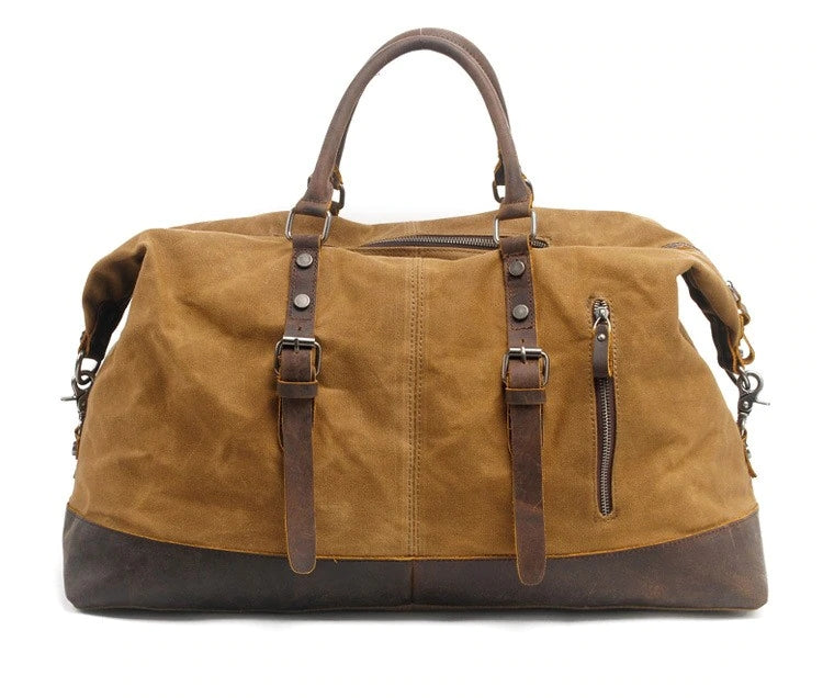 Woosir Waxed Canvas Leather Weekender Bag Waterproof Travel Duffels - Khaki - Waxed Canvas Duffle Bags - Woosir