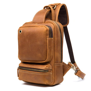 Vintage Leather Sling Backpack for Men -  - Chest Bag - Woosir