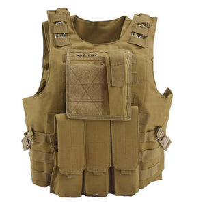 Military Tactical Vest For Men Plate Carrier - Khaki - Tactical Vest - Woosir
