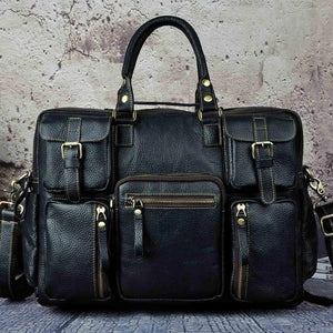 Vintage Leather Briefcase for Men - Black - Briefcases - Woosir