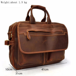 Mens Classic Briefcase Leather Computer Bag -  - Briefcases - Woosir