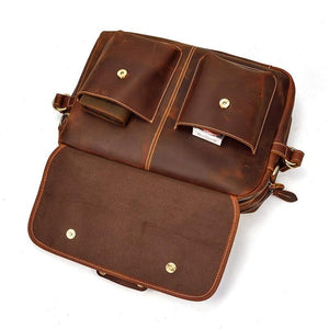 Mens Classic Briefcase Leather Computer Bag -  - Messenger Bag - Woosir
