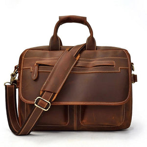 Mens Classic Briefcase Leather Computer Bag - Brown - Messenger Bag - Woosir