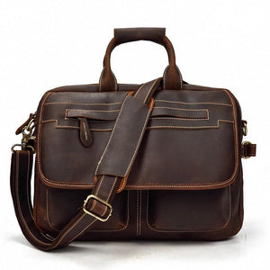 Mens Classic Briefcase Leather Computer Bag - Dark Brown - Messenger Bag - Woosir