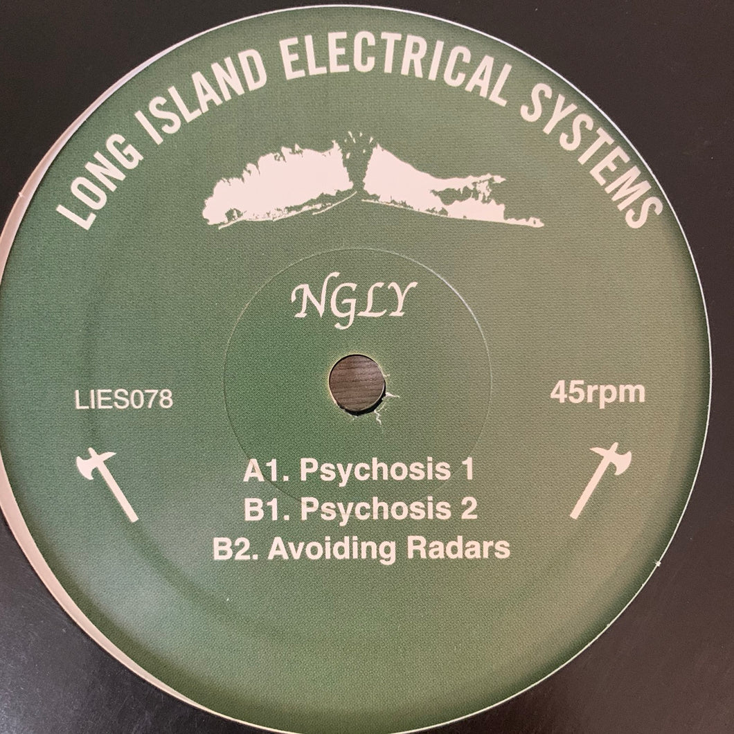 "NGLY ""Psychosis"" on Long Island Electrical System's L.I.E.S. Records 3 Track 12inch Vinyl"