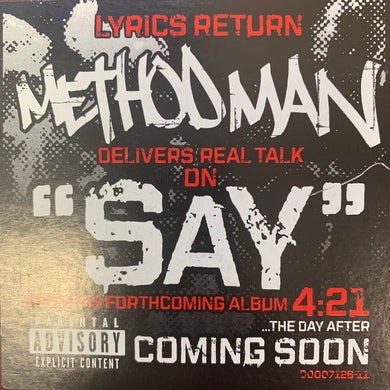 "Method Man ""Say"" 6 Version 12inch Vinyl"