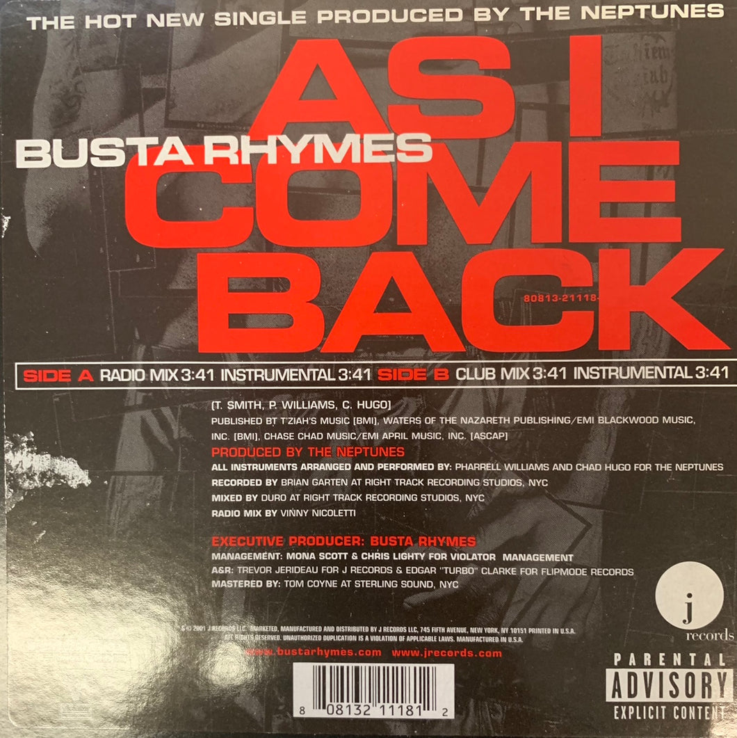 "Busta Rhymes ""As I Come Back"" 4 Track 12inch Vinyl."