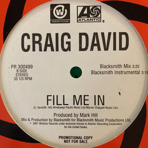 "Craig David ""Fill Me In"" 4 version 12inch Vinyl"