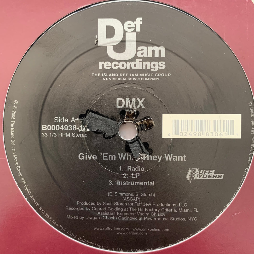 "DMX ""Give Em What They Want"" / ""Pump Ya Fist"" 6 Version 12inch Vinyl"