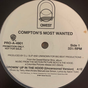 "Comptons Most Wanted ""Growin' Up In The Hood"" 2 Version 12inch Vinyl"