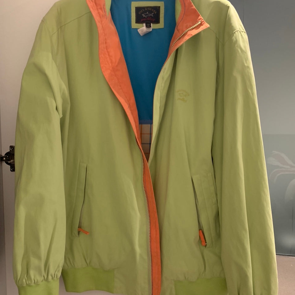 Paul & Shark lightweight Waterproof vintage Summer Bomber Jacket Size XL made in Italy Lime Green