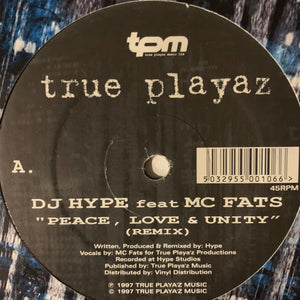 "DJ Hype Feat MC Fats ""Peace' Love & Unity"" 2 Track 12inch Vinyl"