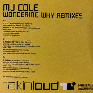 "MJ Cole ""Wondering Why"" The Drum n Bass Remixes 3 Track 12inch Vinyl"