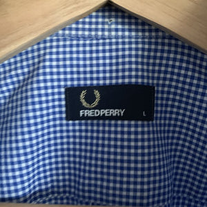 Fred Perry Blue and White Gingham Check Shirt Size Large