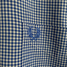 Load image into Gallery viewer, Fred Perry Blue and White Gingham Check Shirt Size Large