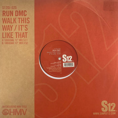 "RUN DMC ""Walk This Way"" / ""It's Like That"" S12 12inch Vinyl"