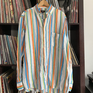 Paul & Shark 100% Linen Striped Shirt Size 42 Will Fit Large to XL