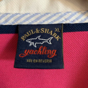 Paul & Shark 100% Cotton Pink and Navy Stripped Polo Shirt Size XL