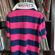 Load image into Gallery viewer, Paul & Shark 100% Cotton Pink and Navy Stripped Polo Shirt Size XL