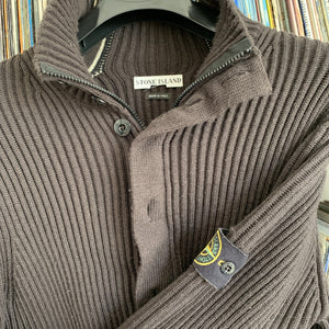 Stone Island Vintage zip and button front brown 100% Lambs Wool cardigan