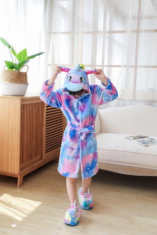 Onesie World -Purple Unicorn with Sparkling Stars Kids Bathrobe