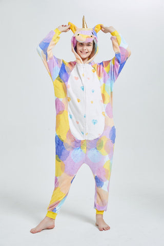 Onesie World Unisex Animal Pyjamas - Rainbow Circles Unicorn Adult Onesie (Cosplay / Nightwear / Halloween / Carnival / Novelty Costume)
