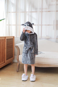 Onesie World Grey Husky Dog Kids Bathrobe