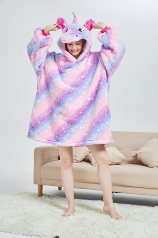 My Snuggy -  Galaxy Stripes Unicorn Oversized Blanket Hoodie