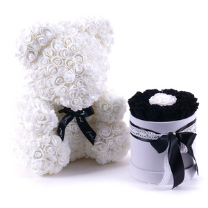 Gorgeous White Rose Teddy Bear with Gift Box - 25cm