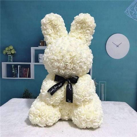 Gorgeous White Rose Bunny with LED Light and Gift Box - 40cm