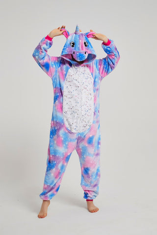 Onesie World Unisex Animal Pyjamas - Purple Unicorn with Sparkling Stars Kids Onesie (Cosplay / Nightwear / Halloween / Carnival / Novelty Costume)