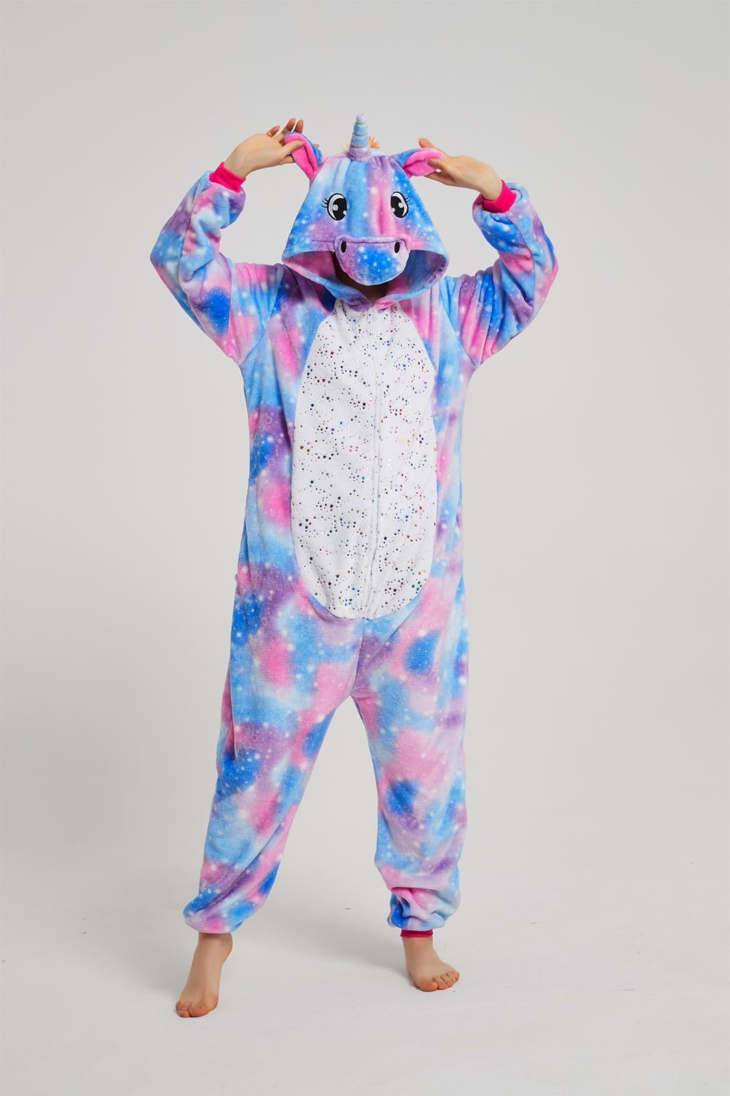 Onesie World Unisex Animal Pyjamas - Purple Unicorn with Sparkling Stars Adult Onesie (Cosplay / Nightwear / Halloween / Carnival / Novelty Costume)