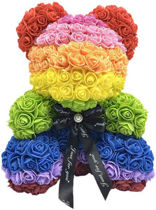 Gorgeous Rainbow Rose Teddy Bear with Gift Box - 25cm