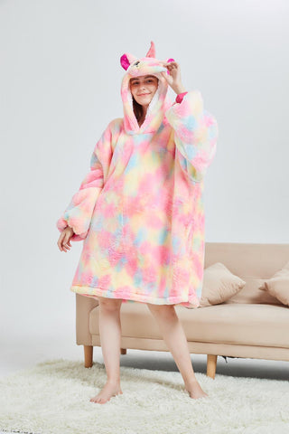 My Snuggy - Pink Rainbow Unicorn Oversized Blanket Hoodie