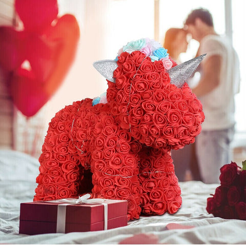Gorgeous Red Rose Unicorn with LED Light and Gift Box - 40cm