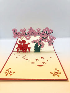 Pop-up Card _ Couple under Cherry Blossom