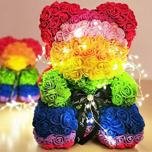 Gorgeous Rainbow Rose Teddy Bear with LED Light and Gift Box - 40cm