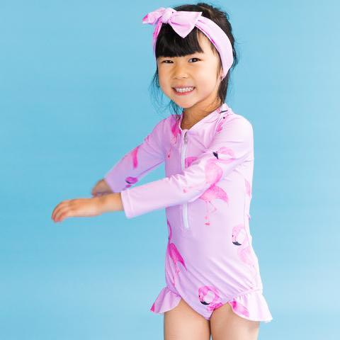 Set of Pink Flamingo One-Piece Long-sleeve Swimsuit and Headband