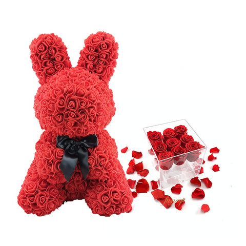 Gorgeous Red Rose Bunny with LED Light and Gift Box - 40cm