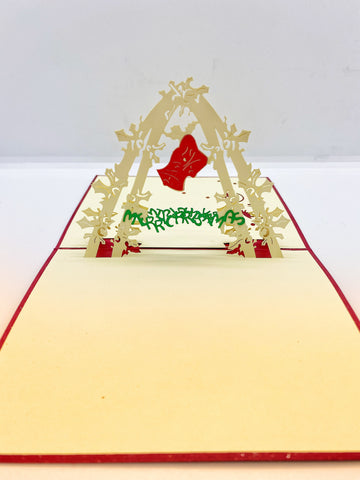 Pop-up Card _ Merry Christmas Red Bell Arch