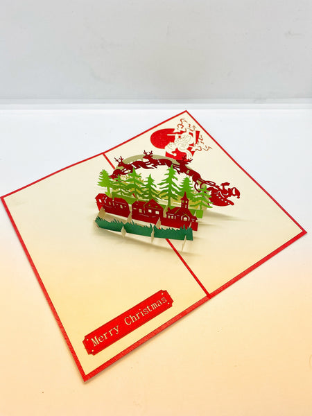 Pop-up Card _ Red Reindeer Flock with Santa Claus