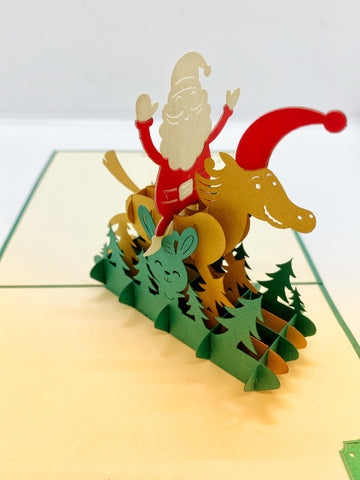 Pop-up Card _ Santa Claus Riding On His Reindeer