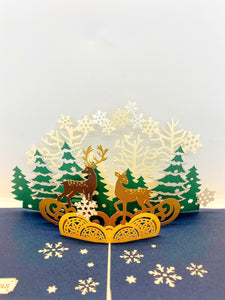 Pop-up Card _ Christmas Deers and Forest